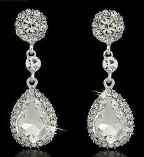 Elegant  Crystal Wedding Bridesmaid Drop Prom Fashion Stud Diamante Earrings