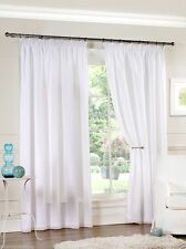 "Pair of 90'' x 90"" White Fully Lined Voile Pencil Pleat 3'' Tape Top Curtains"