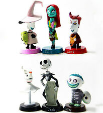 Hot 6pcs Nightmare Before Christmas Barrel Jack Bobble Head PVC Figure Model Toy