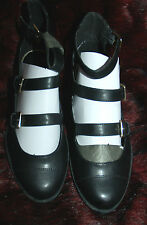 New 5 Black faux leather 3 Gold Buckle Bar flat gladiator Wide shoes Sandal Gift