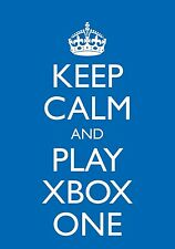 "Birthday Card Blue A5 ""Keep Calm and Play Xbox One""  Blank Greetings Gaming"