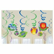 JUNGLE ANIMALS PARTY SWIRLS HANGING DECORATION PACK OF 12