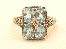 Estate Vintage Sterling Silver CNA Signed Blue Topaz & Diamond Filigree Ring