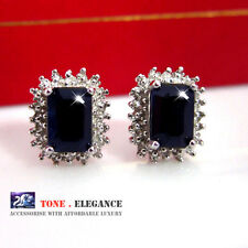 18k white gold GF solid sterling silver Genuine diamonds Sapphire stud earrings