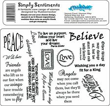 Simple Sentiments Set of Unmounted Rubber Stamps Creative Expressions A5