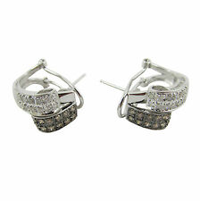 14ct White Gold Drop Huggies Diamond Earrings 6.4 Grams With Omega Back