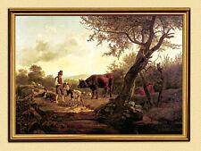 FRIEDRICH GAUERMANN HIRTENSZENE um 1826 KUH ZIEGE FAKSIMILE 37 im Goldrahmen