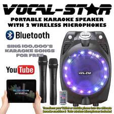Vocal-Star Portable Black Karaoke Machine Speaker 2 Wireless Mics & Bluetooth