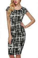 """""""JULZ"""" BEAUTIFUL LADIES BLACK & WHITE SIZE 12 SUMMER FITTED STRETCH PENCIL DRESS"""