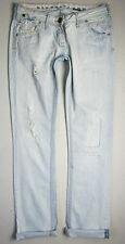 RIVER ISLAND Ripped & Busted ACID WASHED DENIM Straight Leg JEANS 10L W30 L33