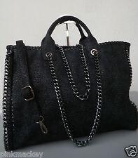 Tragetasche Damen Tasche Tote Bag Design XL Handtasche schwarz chain Kette  NEU