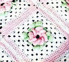 CROCHET PATTERN Vintage 3 Ply Rose Baby Throw Shawl Rug Bear Toy Nursery COPY