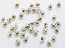 50 Silver Plated Metal Bicone Spacer Beads - 4mm