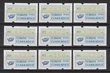 Türkei, ATM 1.1 Postemblem, Satz S1 (9 Werte 5-170), postfrisch
