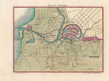 """Danzig/Gdansk Belagerungsplan seltener col. Kupferstich """"Siege de Dantzig"""" ~1820"""