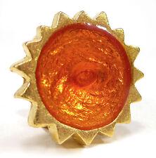 SoHo® Ring Fingerring Sonne gold Kunstharz orange retro resin oranje verstellbar