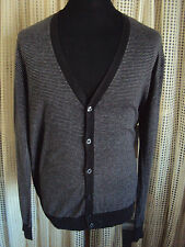 Burton - Fine Wool/ Cotton Blend Knitted Cardigan 2 color grey fine stripe ~ L