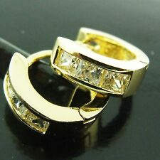 AN188 GENUINE REAL 18K YELLOW G/F GOLD SOLID DIAMOND SIMULATED HOOP EARRINGS