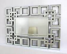 "Marco Silver Modern Rectangle Squares Wall Mirror 40"" x 28"" V Large"
