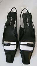 Sergio Rossi Slingbacks schwarz/weiß  Gr. 38,5
