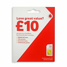 Vodafone 3G/4G SIM Card £5 CREDIT 3-in-1 SIM, Standard Micro Nano, Pay as you go