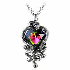 Alchemy Gothic Pewter Heart of Cthulhu Crystal Tentacle Pendant Necklace P723