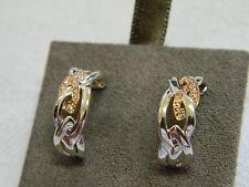 Clogau Silver & Welsh Gold Eternal Love Half Hoop Diamond Earrings RRP £250.00