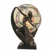Art Deco Lady Tiffany Stained Glass Table Lamp / Bronze Sculpture.