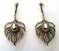 Butler & Wilson Gold Silver Crystal Peacock Feather Earrings NEW