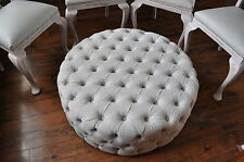 LARGE 100CM DIAMETER CIRCULAR MODERN OTTOMANS FOOTSTOOL FABRIC BOSTON & IBIZA