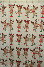 Merry Kiss Moose Fabric Christmas Shower Curtain Holiday Bathroom Xmas