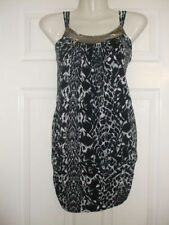 SIZE 8 ANIMAL PRINT TOP SEQUIN BEAD NECK Womens summer Evening Party Ladies
