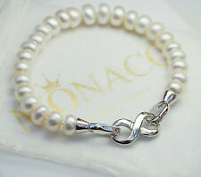 GENUINE Freshwater Pearl Bracelet Infinity Clasp 9mm White Jewellery Gift UK NEW