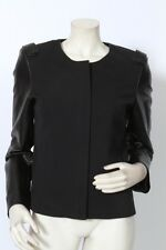ANN TAYLOR Black Jacket w/ Faux Leather Detail sz 8 NWT
