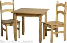 RIO Distressed Waxed Pine 2 Seater Square Dining Set with Two Chairs