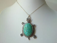 Sterling Silver 925 Necklace Chain ~ Turquoise Turtle Tibetan Silver Pendant 18""