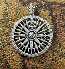 925 solid Sterling silver Nautical compass with Fleur de Lys pendant