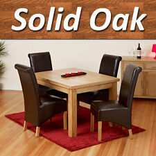 New 100% Solid Oak Single Extending Dining Table Set Furniture with 4 Chairs