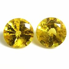 NATURAL AAA GOLDEN YELLOW SAPPHIRE GEMSTONES (PAIR)  ROUND DIAMOND CUT (3.1 mm)