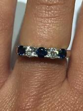18CT WHITE GOLD 0.32CT DIAMOND AND 0.58CT BLUE SAPPHIRE HALF ETERNITY RING GOY36