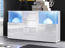Sideboard Kommode weiß Glanz Anrichte Wohnzimmer Schrank MIT Beleuchtung Punch