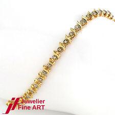 TENNISARMBAND mit 45 Diamanten ca. 0,45 ct in 585/14K Gelbgold - 6 g - 18,5 cm