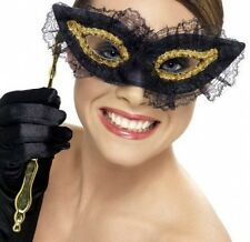 LACE MASK ON STICK - BLACK / GOLD - MASQUERADE MASKED BALL PROM VENETIAN PARTY