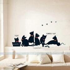 Black Lovely Cat Wall Sticker Removable Wallpaper PVC DIY Home Room Decor Decal