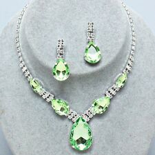 Pale Green diamante jewellery set necklace rhinestone earrings sparkly proms 341