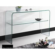 Juli Glass Console Table With Undershelf