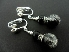 A PAIR OF BLACK CRACKLE GLASS BEAD SILVER  PLATED CLIP ON EARRINGS. NEW.