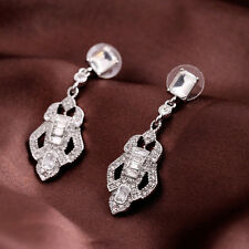 Baroque Bling Crystal Glass Alloy Silver Tone Dangle Stud Earrings Drop