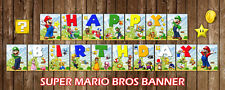 Super Mario Bros Happy Birthday Bunting Banner Party Decoration Children Favour