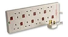 Power Mains Extension Leads 2M 8 Gang Surge Protected Lead Switched NEON 2 metre